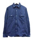 MOMOTARO JEANS(モモタロー ジーンズ)の古着「ウォバッシュワークストライプシャツ」|ネイビー