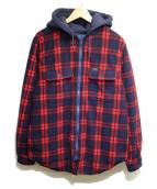 Supreme(シュプリーム)の古着「フーデッドプレイドワークシャツ」|ネイビー×レッド