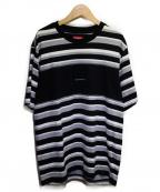 SUPREME()の古着「ブロックストライプTシャツ」|グレー×ブラック