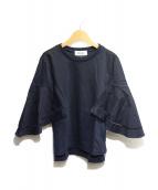 MUVEIL(ミュベール)の古着「袖フレア切替カットソー」|ネイビー