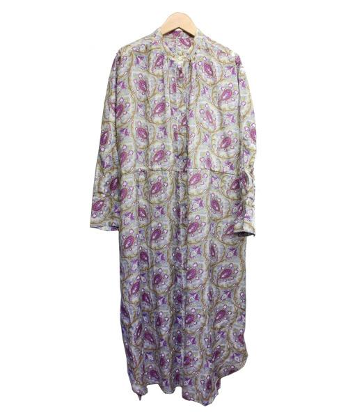 SOULEIADO(ソレイアード)SOULEIADO (ソレイアード) シルクコットンドローストリングシャツワンピース パープル サイズ:36 未使用品 TOMORROWLAND取扱の古着・服飾アイテム