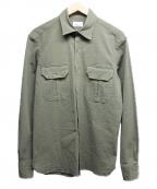 giannetto(ジャンネット)の古着「シアサッカーダブルポケットシャツ」|オリーブ