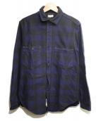 FREEWHEELERS(フリーホイーラーズ)の古着「ワークシャツ」 ダークブルー×ジェットブラック