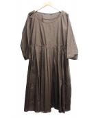 SOFIE DHOORE(ソフィードール)の古着「ギャザーブラウスワンピース」|ブラウン