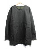 YANTOR(ヤントル)の古着「デニムカットオフロングプルオーバー」|ブラック