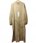 JOHNBULL(ジョンブル)の古着「リネン混バンドカラーブラウスワンピース」|ベージュ