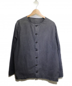 CASEY CASEY(ケーシーケーシー)の古着「ペーパーコットンノーカラーシャツ」 ブラック