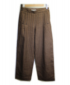 ISSEY MIYAKE(イッセイミヤケ)の古着「刺し子ステッチパンツ」|ブラウン
