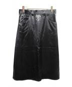BOTTEGA VENETA(ボッテガヴェネタ)の古着「ヘビービスコースミディスカート」|ブラック