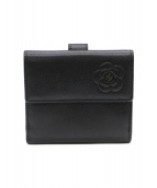 CHANEL(シャネル)の古着「カーフレザー2つ折り財布」|ブラック