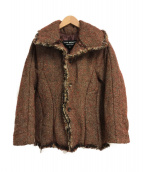 ()の古着「ツイード中綿ジャケット」 レッド×ブラウン