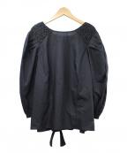 merlette(マーレット)の古着「CARSLILEハンドスモックショルダーブラウス」 ブラック