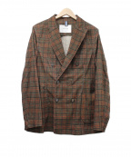 Bagutta(バグッタ)の古着「グレンチェックダブルブレストジャケット」|ブラウン×レッド
