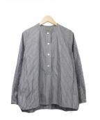 オローネ(オローネ)の古着「スクエアバルーンシャツ」|ブラック×ホワイト