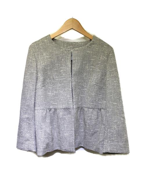 TIARA(ティアラ)TIARA (ティアラ) ツイードペプラムジャケット ホワイト×ブラック サイズ:4 2020年モデルの古着・服飾アイテム