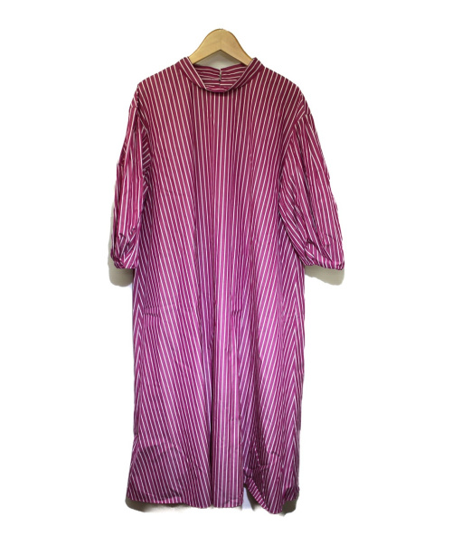 TOMORROW LAND collection(トゥモローランドコレクション)TOMORROW LAND collection (トゥモローランドコレクション) コットンストライプ ボリュームスリーブワンピース パープル サイズ:34の古着・服飾アイテム