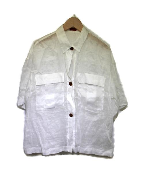 DES PRES(デ・プレ)DES PRES (デ・プレ) ラミーサファリシャツ ホワイト サイズ:36の古着・服飾アイテム