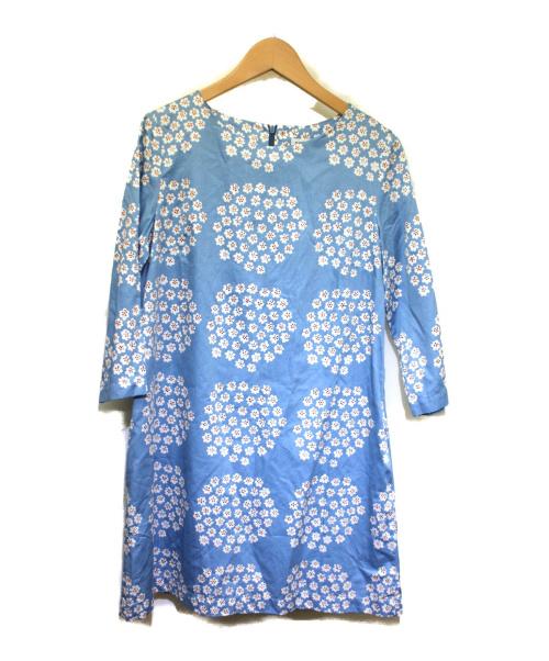 marimekko(マリメッコ)marimekko (マリメッコ) 7分袖ワンピース ブルー×ホワイト サイズ:36 5253142183 PUKETTI PALOMIの古着・服飾アイテム