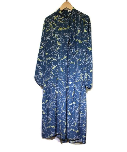 TOMORROW LAND(トゥモローランド)TOMORROW LAND (トゥモローランド) グラフィティーフラワープリント ボウタイワンピース ブルー サイズ:S 2020年モデルの古着・服飾アイテム