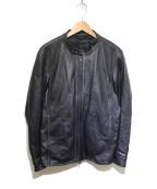 1PIU1UGUALE3 RELAX(ウノピゥウノウグァーレトレリラックス)の古着「シープレザーシングルライダースジャケット」 ブラック