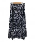 icB(アイシービー)の古着「イレギュラーヘムロングスカート」|ネイビー×ブルー