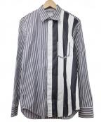 Maison Margiela 10(メゾンマルジェラ 10)の古着「アシンメトリーストライプL/Sシャツ」 ホワイト×ブラック