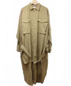 ()の古着「チェックパターンロングシャツ」|ブラウン