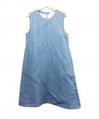 S Max Mara(エスマックスマーラ)の古着「リネン混タックノースリーブワンピース」 ブルー