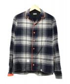 ()の古着「パイピングオープンカラーシャツ」|ネイビー×オレンジ