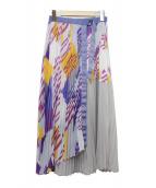 ELENDEEK(エレンディーク)の古着「ジオメトリープリーツスカート」|グレー×パープル