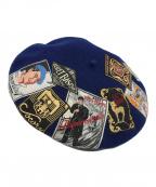 LAULHERE(ローレール)の古着「ERIDAN T.S.ワッペン付ベレー帽」 ブルー