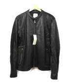 UNITED TOKYO(ユナイテッドトーキョー)の古着「ラムレザーシングルライダースジャケット」|ブラック