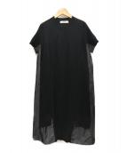 CHAN LUU(チャンルー)の古着「異素材切替S/Sニットワンピース」|ブラック×グレー