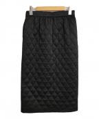 LE PHIL(ル フィル)の古着「コンビネーションキルトタイトスカート」|ブラック