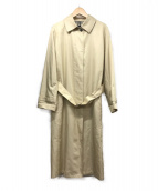 ()の古着「シルク混ステンカラーコート」|ベージュ