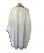 Maison Margiela 1(メゾンマルジェラ 1)の古着「ノーカラーストライプシャツワンピース」|ホワイト×ブルー