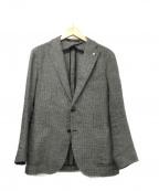 TAGLIATORE()の古着「ウールリネンテーラードジャケット」|ホワイト×ブラック