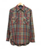 PENDLETON(ペンドルトン)の古着「70'Sチェックウエスタンシャツ」|ベージュ×グリーン×レッド