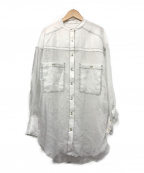 furfur(ファーファー)の古着「シアーバンドカラーシャツ」|ホワイト