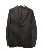 giannetto(ジャンネット)の古着「シアサッカーストライプ2Bジャケット」|ブラウン