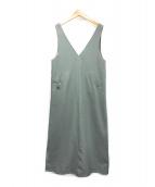 SLOBE IENA(スローブ イエナ)の古着「ツイルVネックジャンパースカート」|カーキ