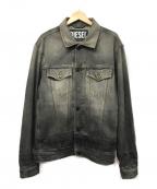 DIESEL()の古着「フロントリングデニムジャケット」 ブラック