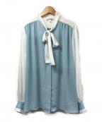 NARA CAMICIE(ナラカミーチェ)の古着「配色ソフトジョーゼットブラウス」 ホワイト×ブルー