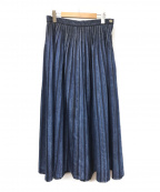 自由区(ジユウク)の古着「タックフレアスカート」|インディゴ