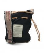 THEATRE PRODUCTS(シアタープロダクツ)の古着「ナイロンジャガードテープ巾着ショルダーバッグ」 ブラック×ベージュ