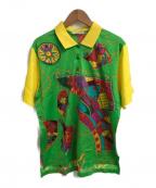 LEONARD SPORT(レオナールスポーツ)の古着「総柄プリントポロシャツ」|グリーン×イエロー