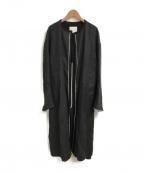 CINOH(チノ)の古着「LINEN NO COLLAR COAT」|ブラック