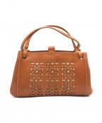 genten(ゲンテン)の古着「カットワークレザーハンドバッグ」|ブラウン
