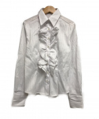 NARA CAMICIE(ナラカミーチェ)の古着「フロントフリルL/Sシャツ」 ホワイト