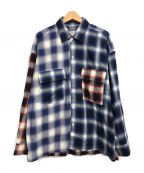 MONKEY TIME(モンキータイム)の古着「SWITCHING OMBRE CHECK SHIRT」|レッド×ネイビー
